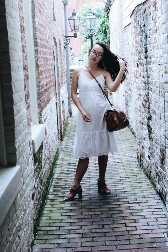 White broderie anglais midi-dress